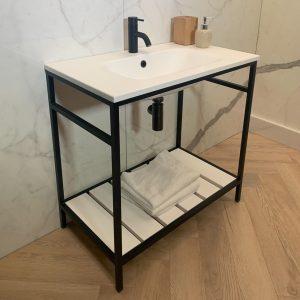 Harvey George Luxe Matt Black 800mm Aluminium Framed Vanity Unit Solid Surface Resin Sink